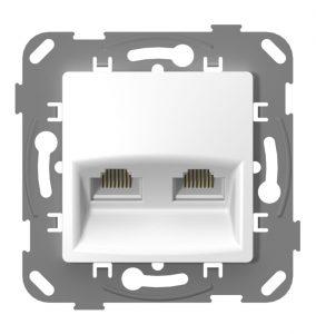 Комп'ютерна розетка подвійна з металевим супортом