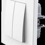 Nordic двоклавішний вимикач з рамкою білого кольору