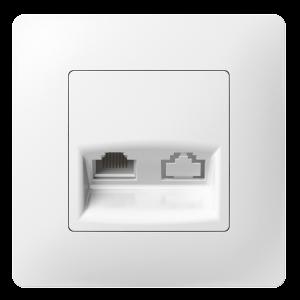 Комп'ютерна розетка одинарна з металевим супортом