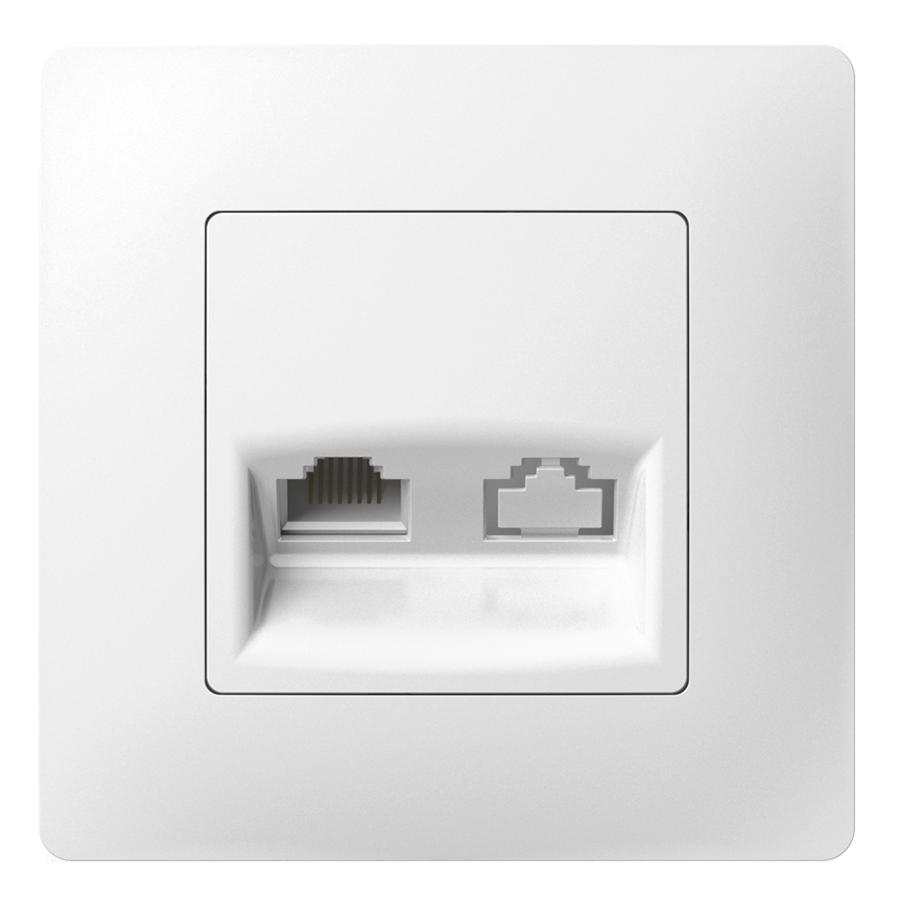 Комп'ютерна розетка одинарна з металевим супортом image