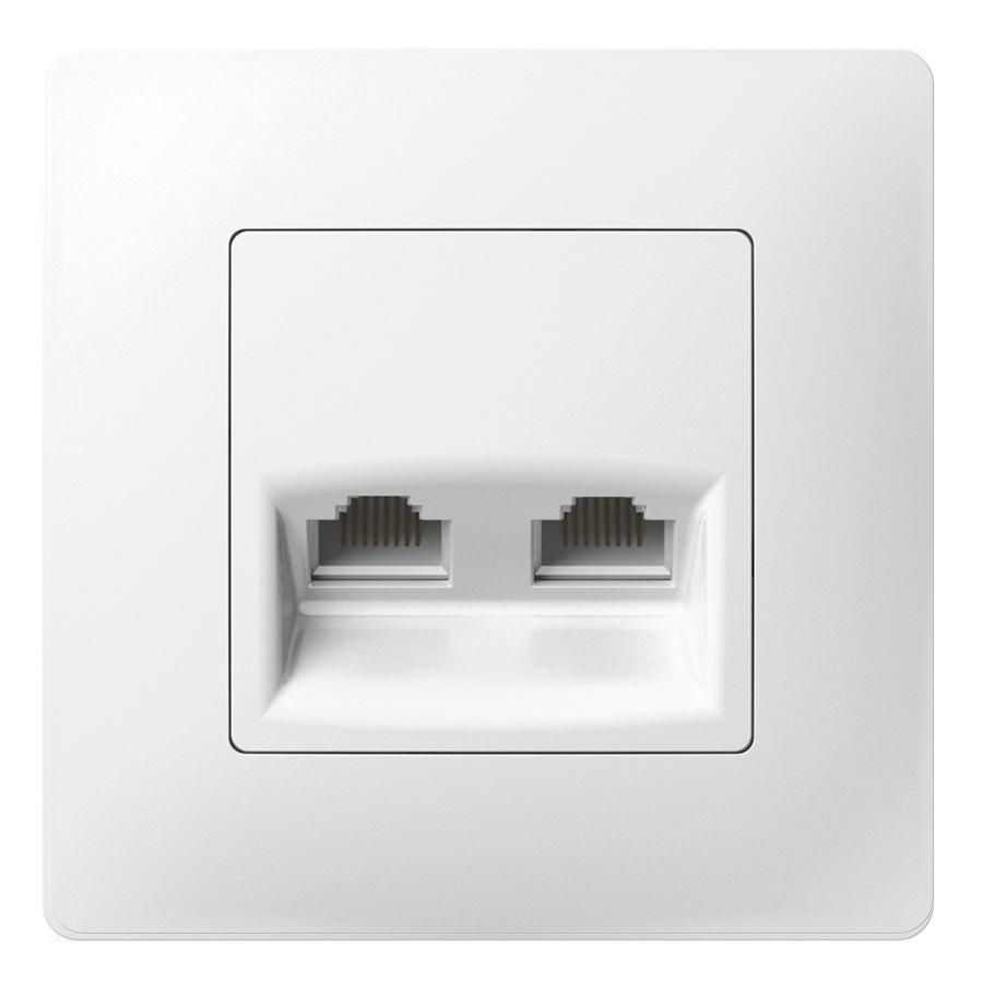Комп'ютерна розетка подвійна з металевим супортом image