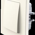 Nordic вимикач одноклавішний з рамкою, кольору слонова кістка