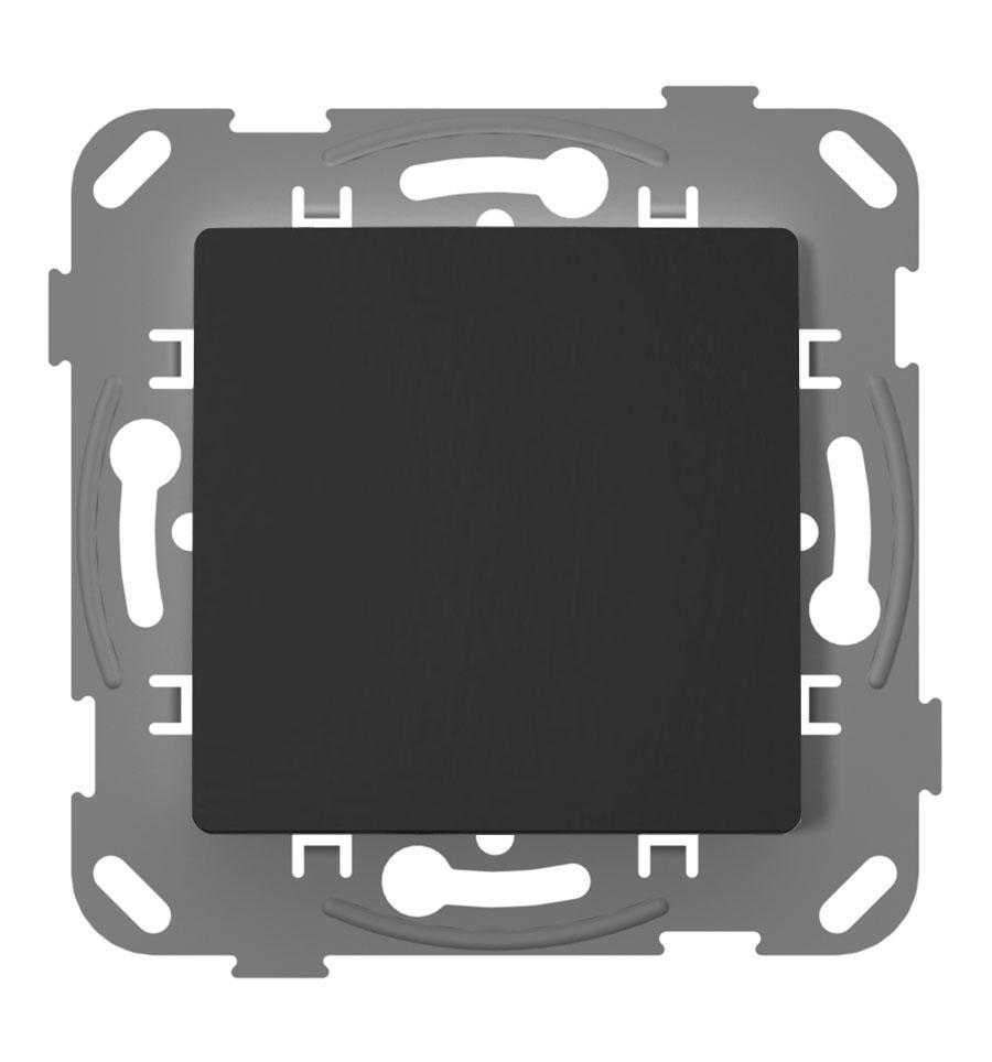 Перемикач прохідний одноклавішний з металевим супортом, антрацит image