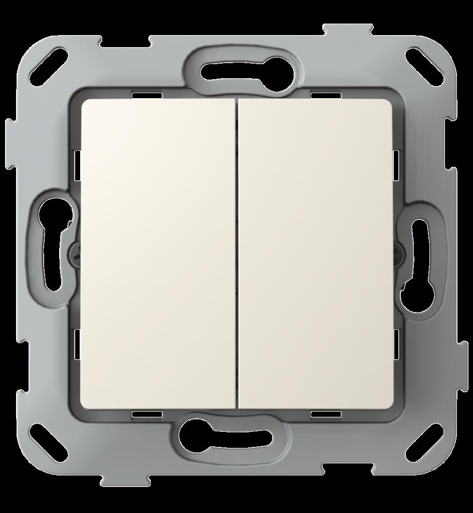Кнопка-вимикач без фіксації двоклавішна, слонова кістка image