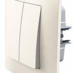 Classic вимикач двоклавішний з рамкою, кольору слонова кістка