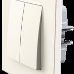 Nordic вимикач двоклавішний з рамкою, кольору слонова кістка