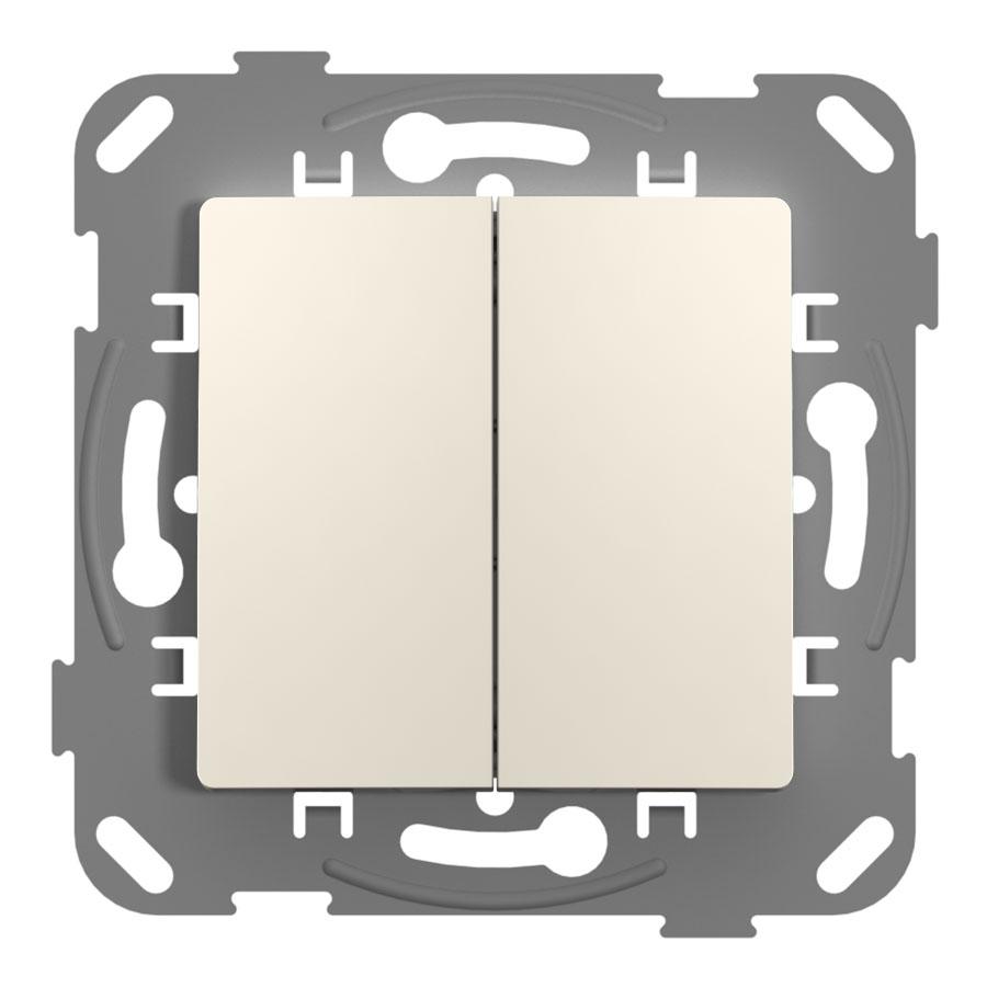 Кнопка-вимикач без фіксації двоклавішна з метелевим супортом, слонова кістка image