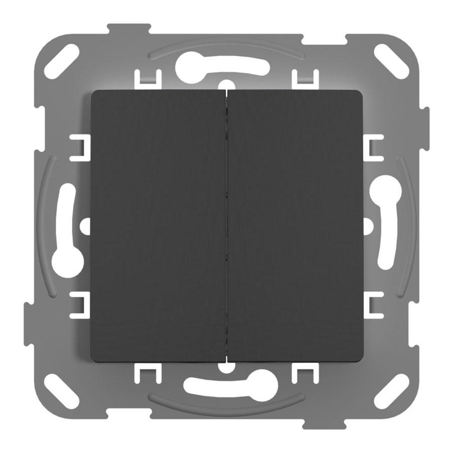 Перемикач прохідний двоклавішний з металевим супортом, антрацит image