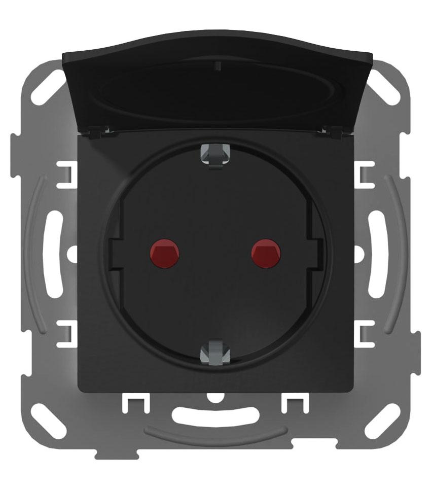 Розетка з кришкою з заземленням з захисною шторкою та металевим супортом, антрацит image