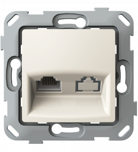 Комп'ютерна розетка одинарна з композитним супортом, слонова кістка