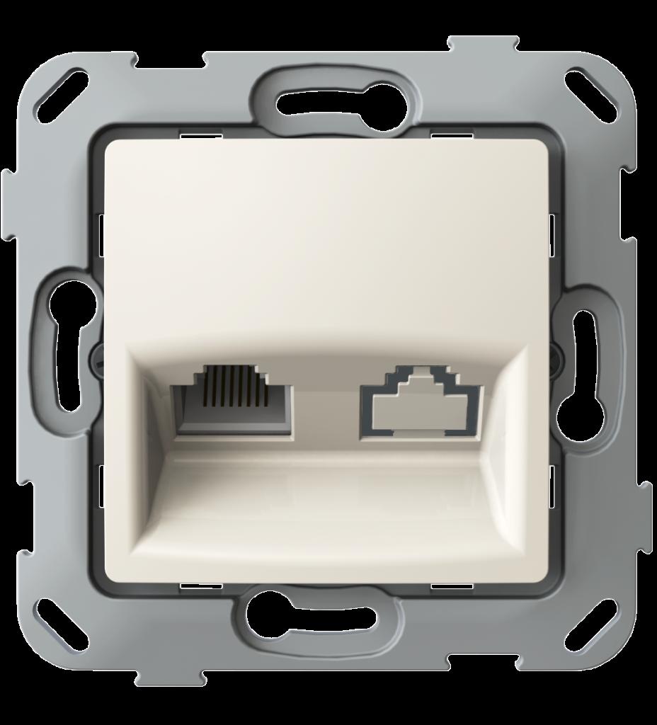 Комп'ютерна розетка одинарна, слонова кістка image