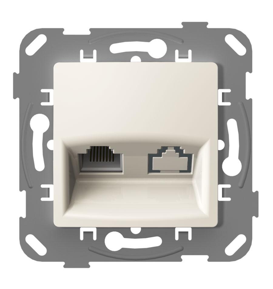 Комп'ютерна розетка одинарна з металевим супортом, слонова кістка image