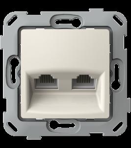 Комп'ютерна розетка подвійна з композитним супортом, слонова кістка
