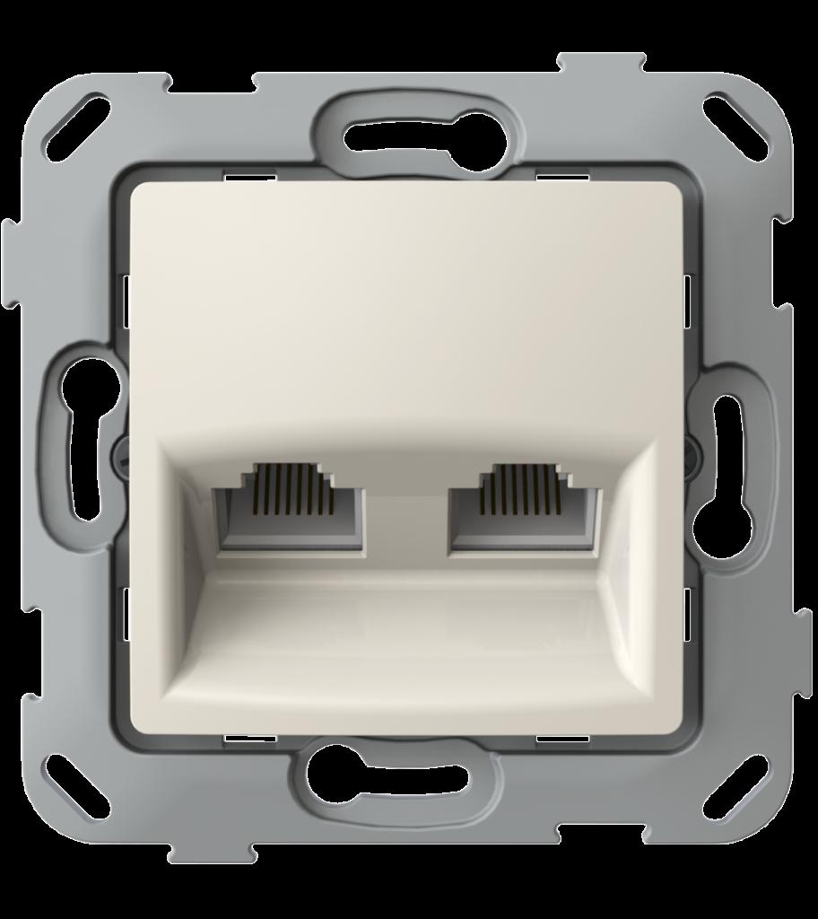 Комп'ютерна розетка подвійна з композитним супортом, слонова кістка image