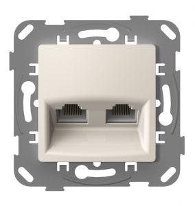 Комп'ютерна розетка подвійна з металевим супортом, слонова кістка