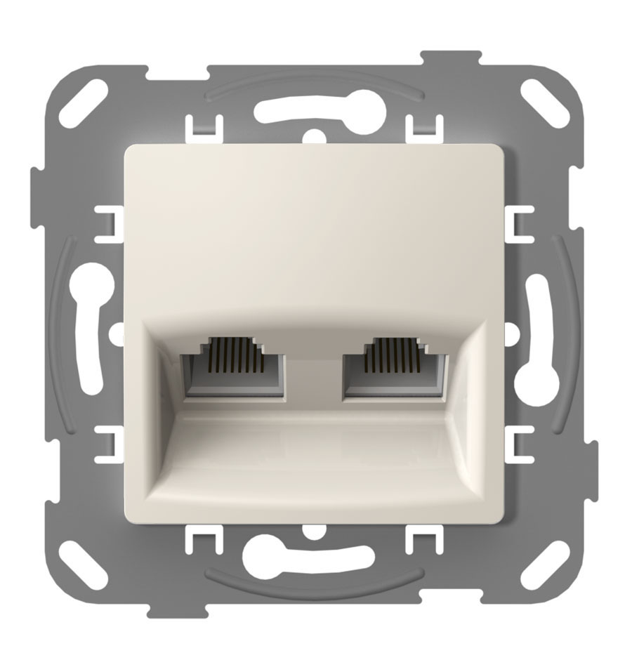 Комп'ютерна розетка подвійна з металевим супортом, слонова кістка image