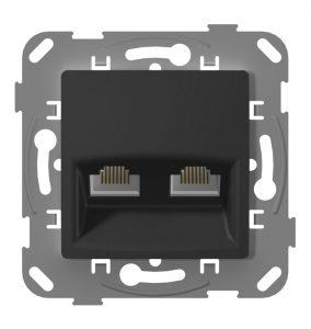 Комп'ютерна розетка подвійна з металевим супортом, антрацит
