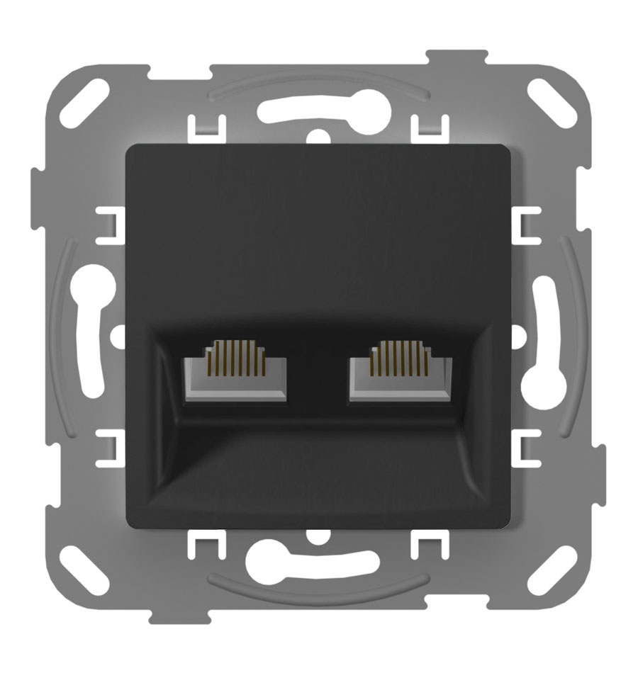 Комп'ютерна розетка подвійна, антрацит image