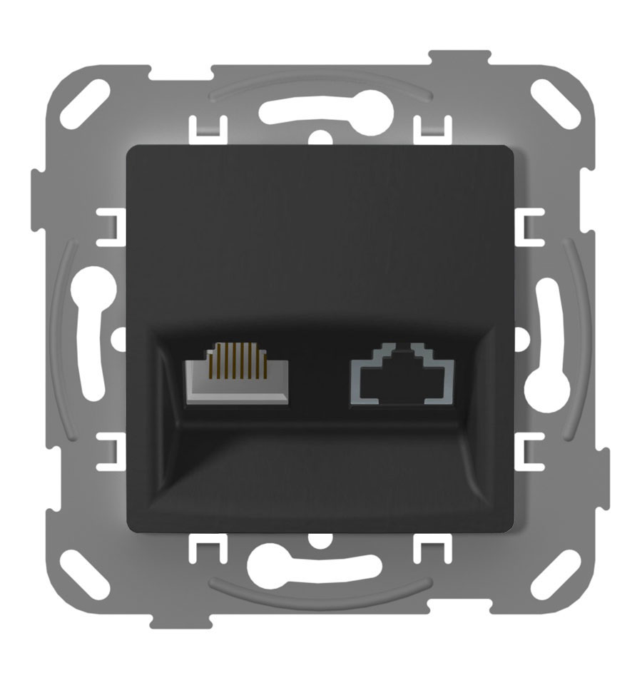 Комп'ютерна розетка одинарна, антрацит image