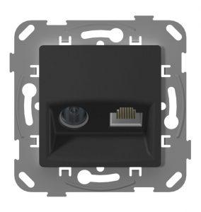 Телевізійна + комп'ютерна розетка з металевим супортом, антрацит