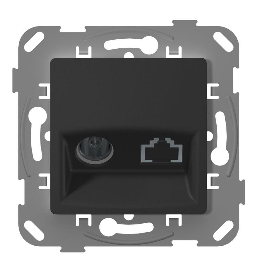 Телевізійна розетка кінцева з металевим супортом, антрацит image