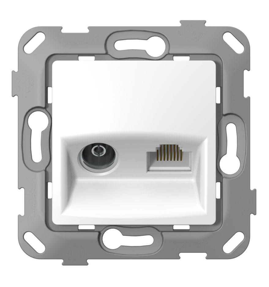 Телевізійна + комп'ютерна розетка з композитним супортом image