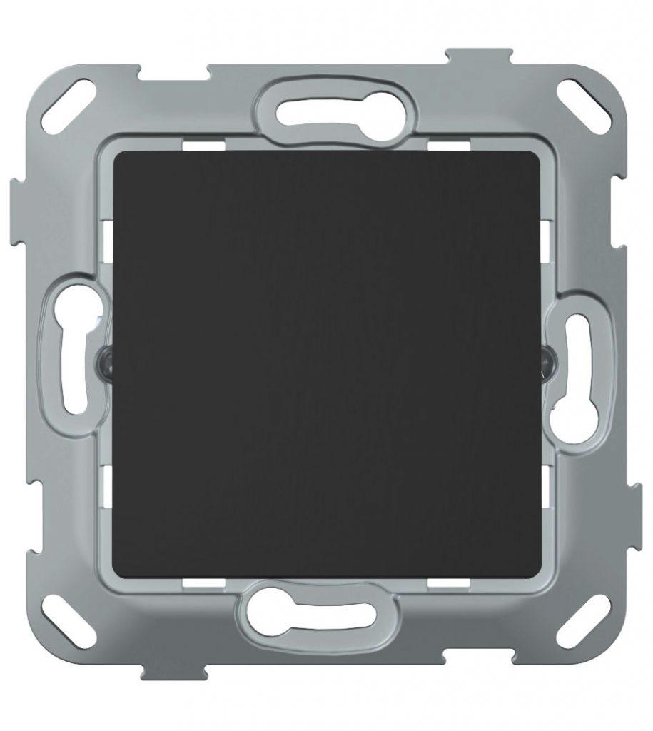 Перемикач прохідний одноклавішний з композитним супортом, антрацит image
