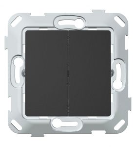 Кнопка-вимикач без фіксації двоклавішна, антрацит