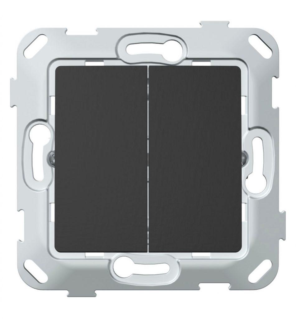 Кнопка-вимикач без фіксації двоклавішна, антрацит image