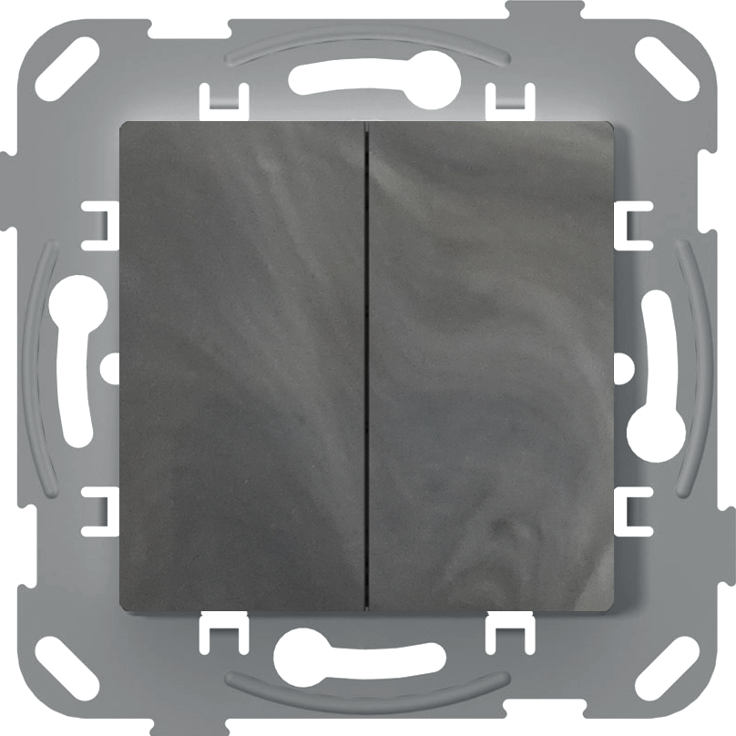 Перемикач прохідний двоклавішний, антимікробний, базальт image
