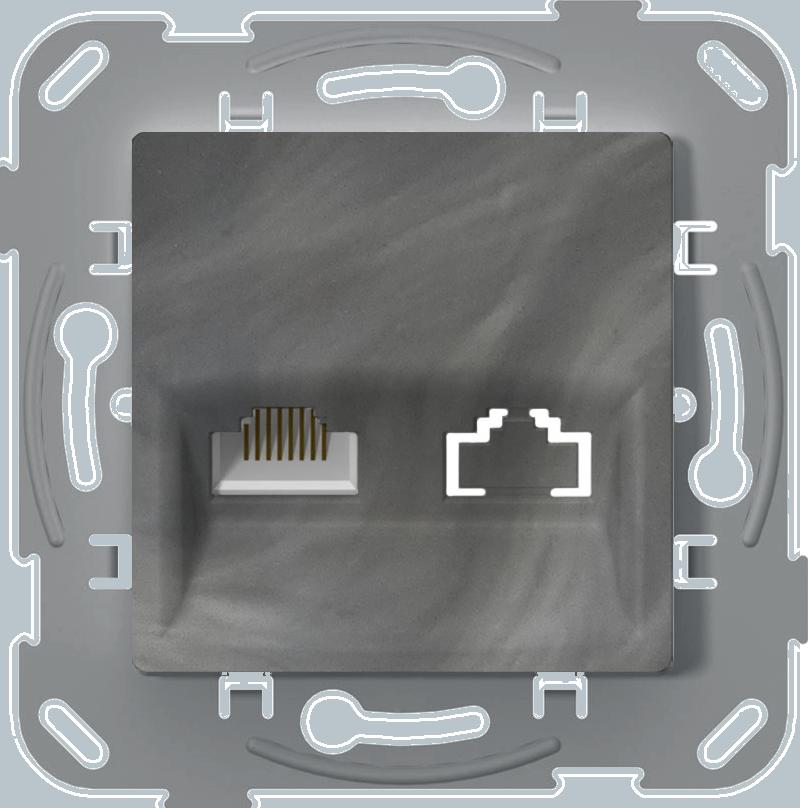 Комп'ютерна розетка одинарна, базальт image