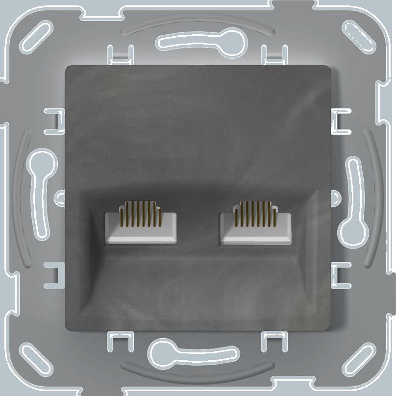 Комп'ютерна розетка подвійна, базальт image