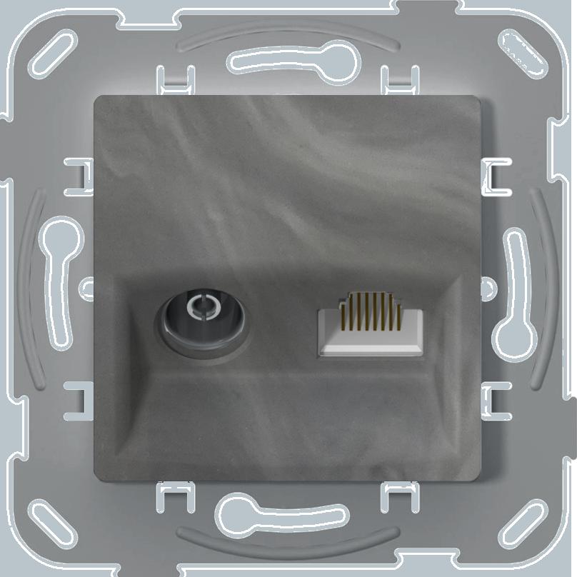 Телевізійна + комп'ютерна розетка, базальт image