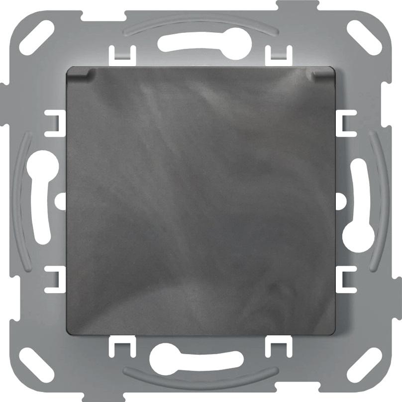 Розетка з кришкою з заземленням та захисною шторкою, антимікробний, базальт image